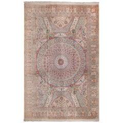 Large Vintage Silk Persian Qum Rug