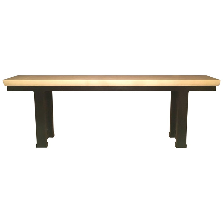 Asian Inspired Console Table with Thick Bone Top
