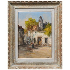 Small French 19th Century Oil on Canvas Painting Depicting a Village in Brittany