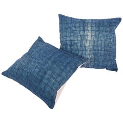 Pillow Cases Fashioned from an Early 20th Century Mazandaran Indigo Blanket