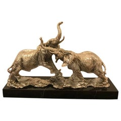 Art Deco Elephant Sculpture on Black Marble