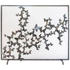 Bespoke Hand-Wrought Iron Butterfly Fireplace Screen Spark Guard