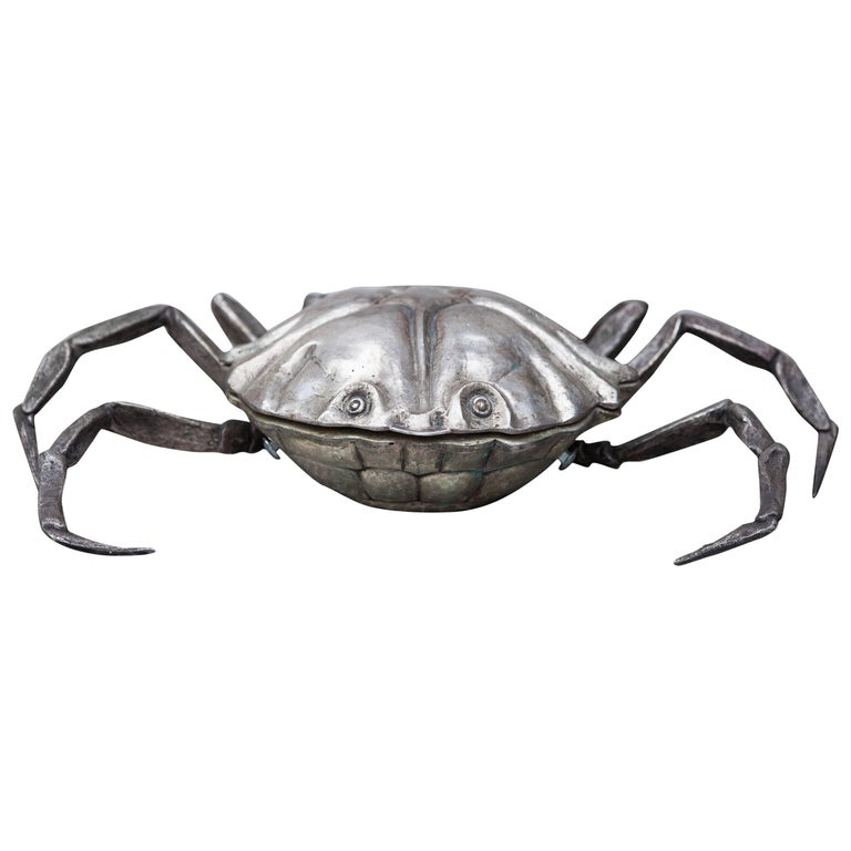 Franco Lapini Silver Plated Caviar Crab, Italy, 1970 Marked