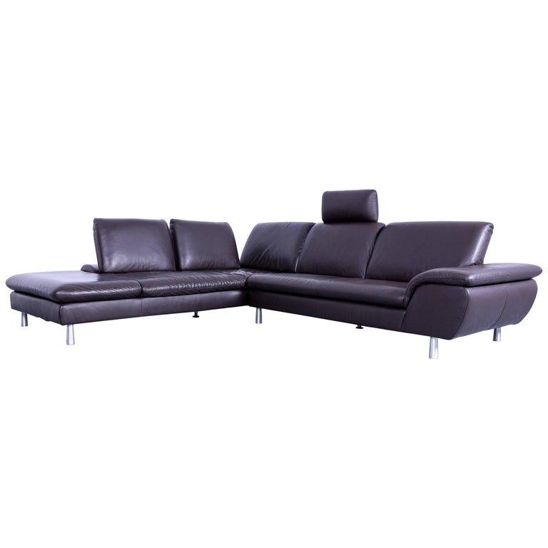 willi schillig loop leather corner couch brown function modern at 1stdibs. Black Bedroom Furniture Sets. Home Design Ideas