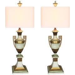 Very Large Pair of Hollywood Regency Gold and Ivory Grecian Urn Lamps