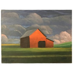Landscape with Red Barn Oil Painting