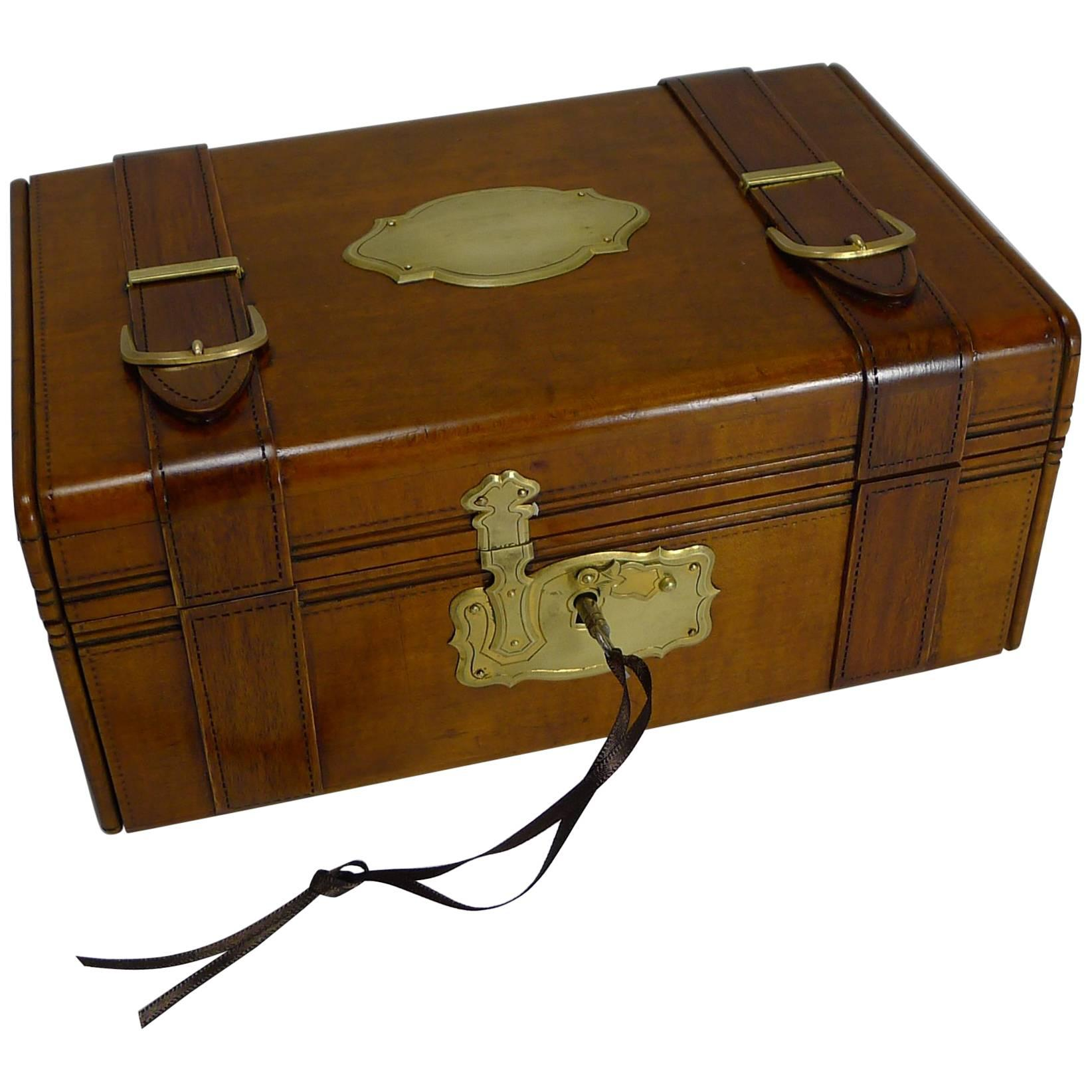 HandCarved French Jewelry Box Miniature Trunk circa 1880 For Sale