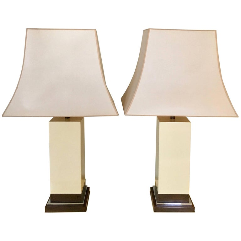 Pair of Ivory Lamps in the Manner of Pierre Cardin