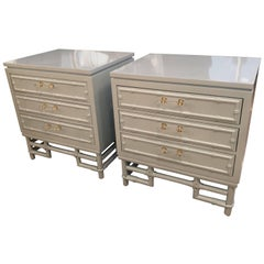 Faux Bamboo, Rattan Lucite & Brass Nightstands Chest Pair Lacquered Powder Blue