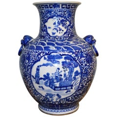 Large Blue & White Chinese Porcelain Vase with Figural Subjects and Foo Handles