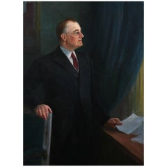 Oil on Canvas, Large Portrait of FDR, Nicholas Richard Brewer, 1934
