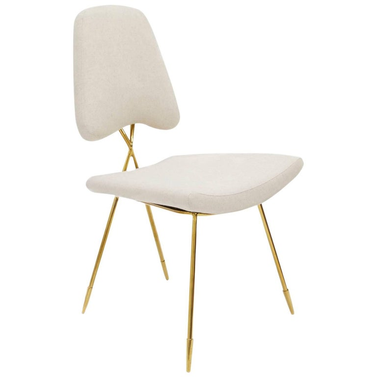 Maxime Linen and Brass Dining Chair