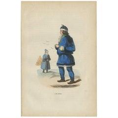 Antique Print of Laplanders 'Sami' by H. Berghaus, 1855