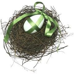 Victorian Milk Glass Easter Egg and Bird's Nest