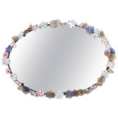 Oval Mirror with Murano Glass Flower Frame