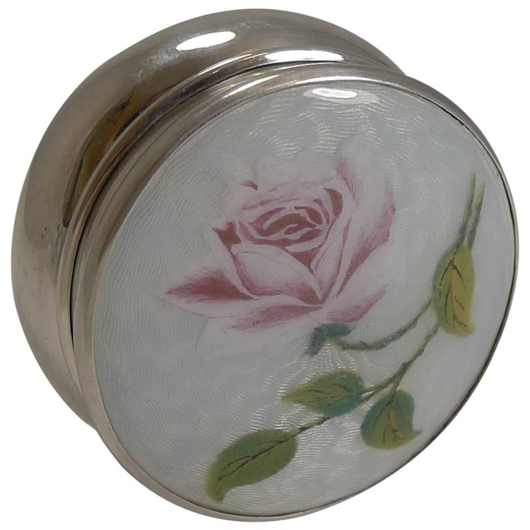 Large Antique English Sterling Silver and Guilloche Enamel Pill Box, 1918 For Sale