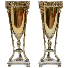 Pair of Gilt Silver and Marble Vases by C.G. Hallberg, 1907