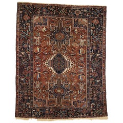 Antique Persian Heriz Rug with  Medallion and Cruciform Motif