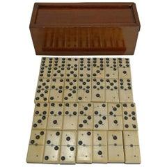 Antique English Boxed Set Bone and Ebony Wood Dominoes, circa 1890