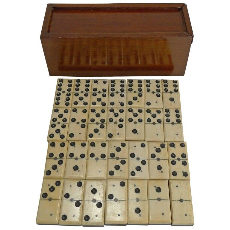 Antique English Boxed Set Bone And Ebony Wood Dominoes Circa 1890