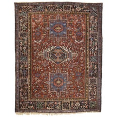 Antique Persian Heriz Rug with Triple Amulet and Medallion Design