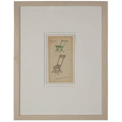 Ludwig Bemelmans Watercolor of Two Chairs