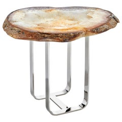 Gigante Citrine Agate Druze and Silver Infinito Base End Table