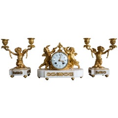 Antique French Gilt Bronze and Marble Clock and Candelabra Set