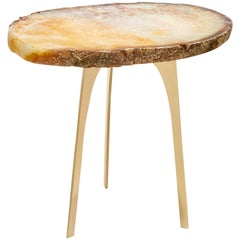 Gigante Citrine Agate and Brass Triad Base End Table