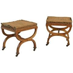 Pair of Victorian Satin Birch X-Frame Stools