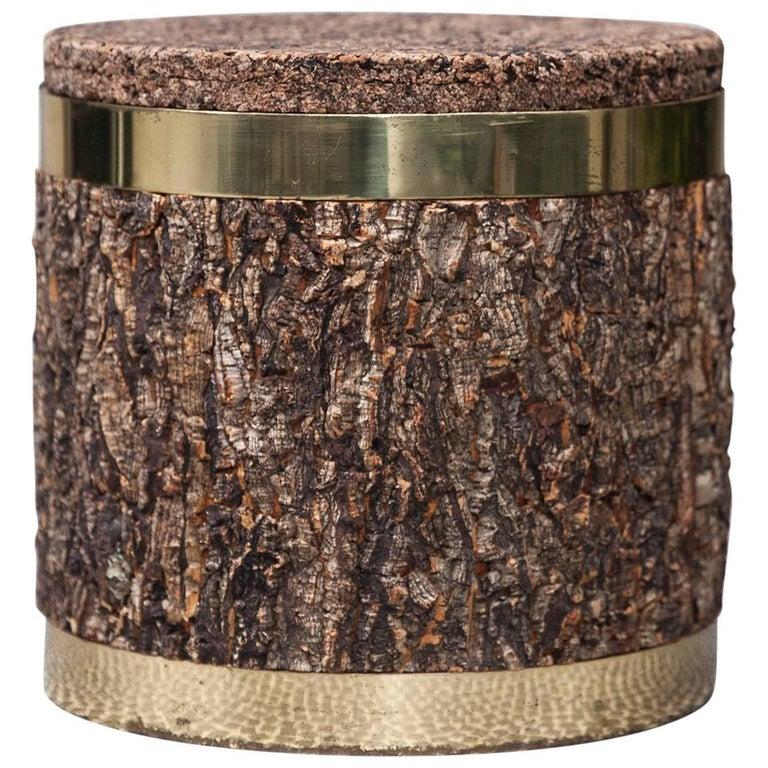 Rare Gabriella Crespi Cork Brass Ice Bucket Signed