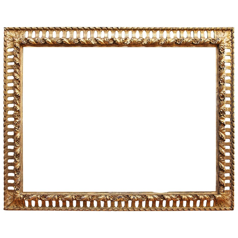 Baroque Frame Italian Gold Leaf 19th Century Painting or Mirror ...