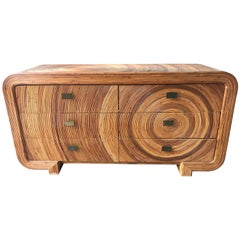 Gabriella Crespi Style Split Reed Rattan Six Drawer Dresser