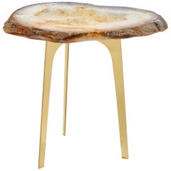 Gigante Citrine Agate Druze and Brass Triad Base End Table