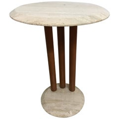 Postmodern Travertine and Wood Side or End Table