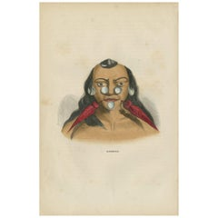 Antique Print of an Inhabitant of Brazil by H. Berghaus, 1855