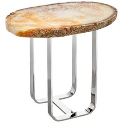 Gigante Citrine Agate and Silver Infinito Base End Table