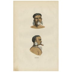 Antique Print of the Indigenous Botocudos of Brazil by H. Berghaus, 1855