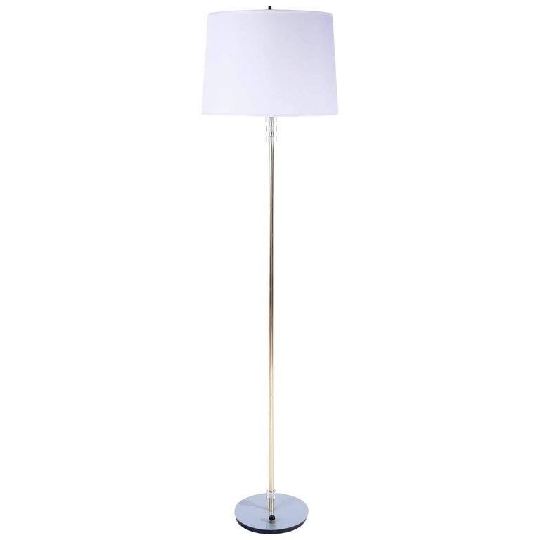 Floor Lamp Lucite Brass Turquoise Base, 1960s