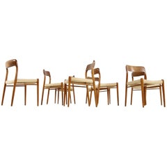 Eight 1960s Danish Teak and Cane Dining Room Chairs by Niels O. Moller Mod. 75
