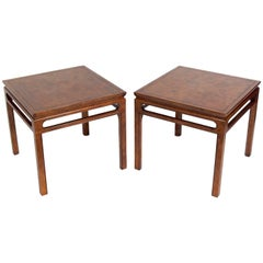 Beautifully Burled Wood End Tables by Baker