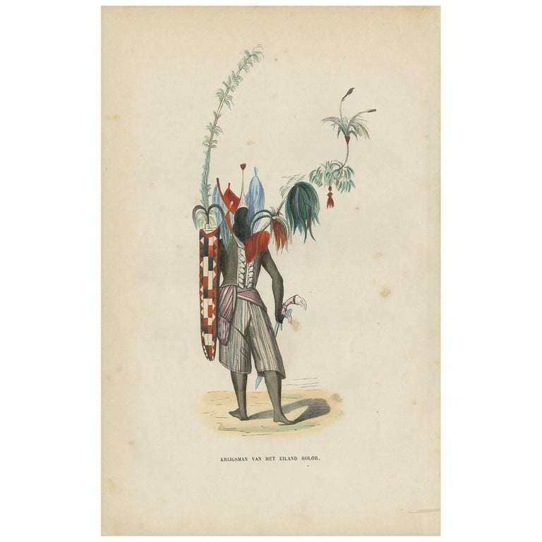 Antique Print of a Warrior of Solor Island by H. Berghaus, 1855