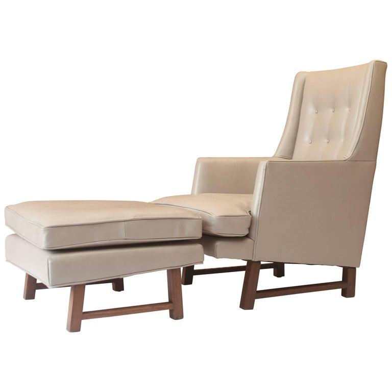 Edward Wormley for Dunbar Leather High Back Lounge Chair & Ottoman Model No. 400