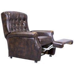 Chesterfield Armchair Brown Leather Buttoned Function Vintage Retro Handmade