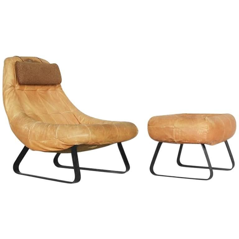 Brazilian Earth Chair and Ottoman by Percival Lafer for Lafer MP, 1970s