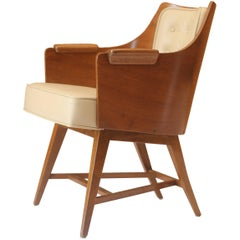 Edward Wormley for Dunbar Leather and Walnut Barrel Back Lounge Chair No. 5646
