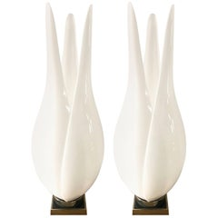 Pair of Rougier Acrylic and Brass Lamps