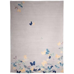Contemporary Handmade Beige Wool and Silk Rug with Butterfly Pattern