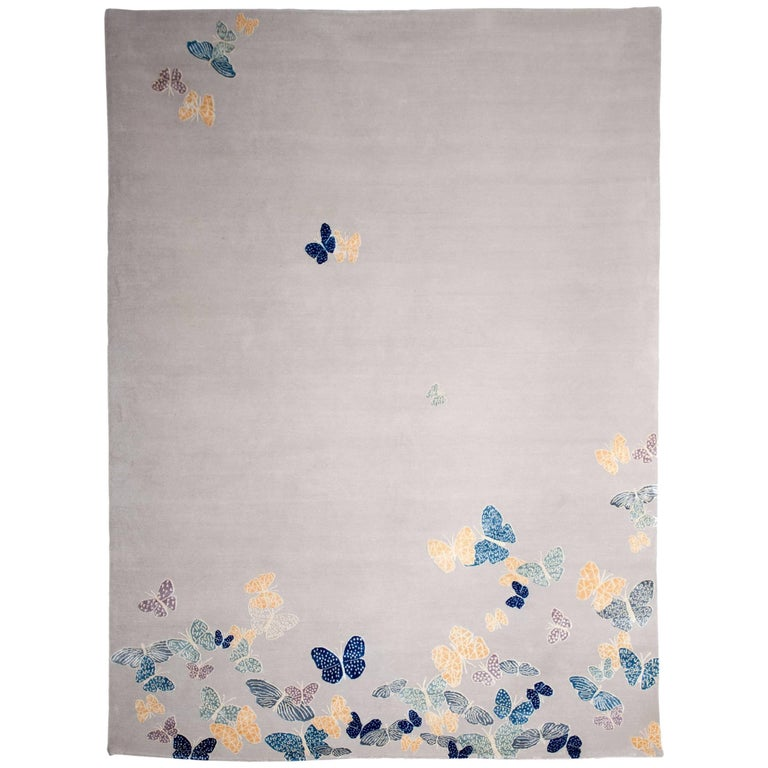 Contemporary Handmade Beige Wool & Silk Rug with Butterfly, custom size & colors For Sale
