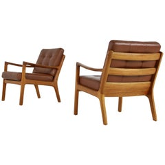 Pair of Danish 1960s Teak and Brown Leather Lounge Easy Chairs by Ole Wanscher